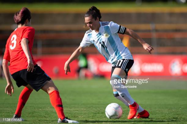 Argentina player Florencia Bonsegundo controls the ball at The Cup of Nations womens soccer match between Argentina and Korea Republic on February 28...