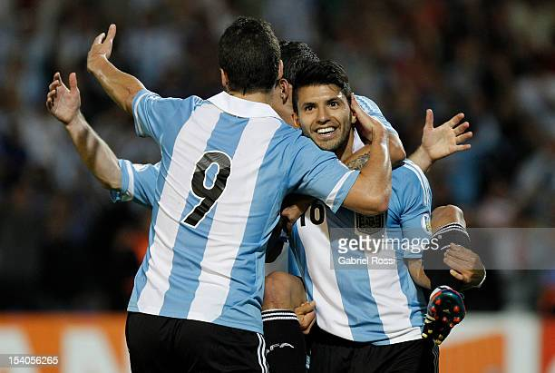 Argentina players celebrate a goal during a match between Argentina and Uruguay as part of the South American Qualifiers for the FIFA Brazil 2014...