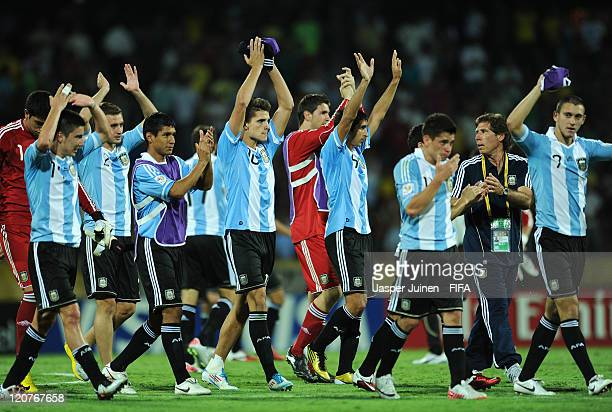 Argentina players celebrate at the end of the FIFA U20 World Cup Colombia 2011 round of 16 match between Argentina and Egypt at the Atanasio Girardot...