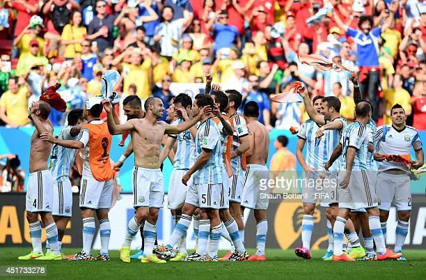 Argentina players celebrate the 1-0 win after the 2014 FIFA World Cup Brazil Quarter Final match between Argentina and Belgium at Estadio Nacional on...