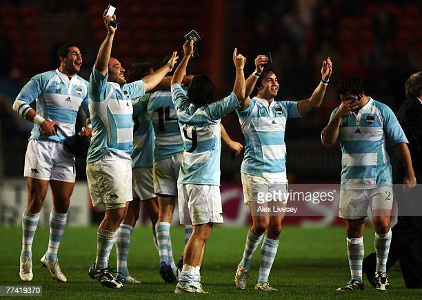 Argentina players celebrate victory after the Bronze Final of the Rugby World Cup 2007 between France and Argentina at the Parc des Princes on...
