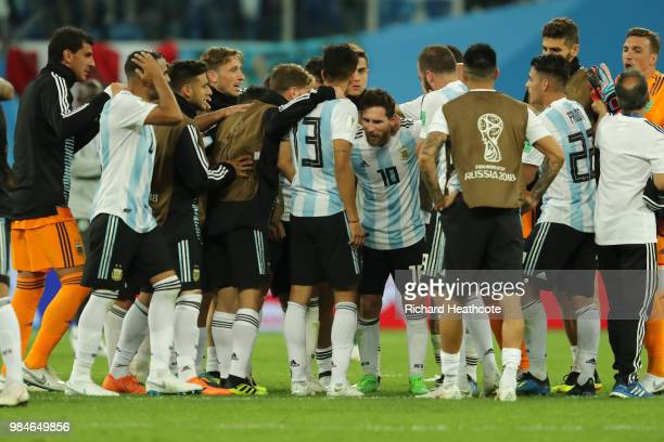 Argentina players celebrate victory following the 2018 FIFA World Cup Russia group D match between Nigeria and Argentina at Saint Petersburg Stadium...