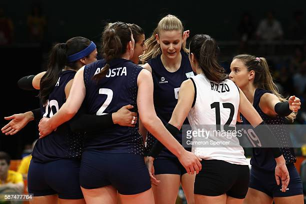 Argentina players huddle during the Women's Preliminary Pool A match between Argentina and Brazil on Day 3 of the Rio 2016 Olympic Games at the...