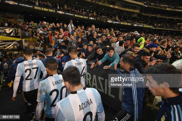 Argentina players leave the pitch during the Brasil Global Tour match between Brazil and Argentina at Melbourne Cricket Ground on June 9 2017 in...
