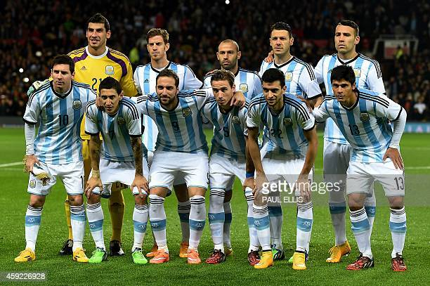Argentina players line up for a team photo before the international friendly football match between Argentina and Portugal at Old Tarfford in...