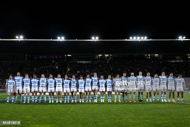 Argentina players line up for the national anthems during The Rugby Championship match between the New Zealand All Blacks and Argentina at Yarrow...