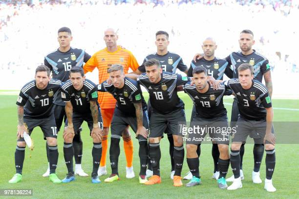Argentina players line up for the team photos prior to the 2018 FIFA World Cup Russia group D match between Argentina and Iceland at Spartak Stadium...
