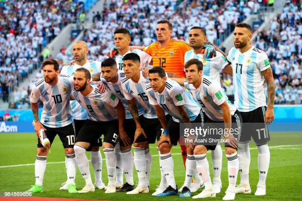 Argentina players line up for the team photos prior to the 2018 FIFA World Cup Russia group D match between Nigeria and Argentina at Saint Petersburg...