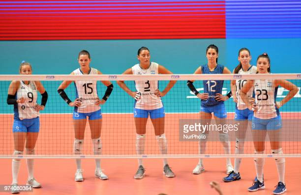 Argentina players lineup before the FIVB Volleyball Nations League match between Argentina and Serbia at the stadium of the technological university...