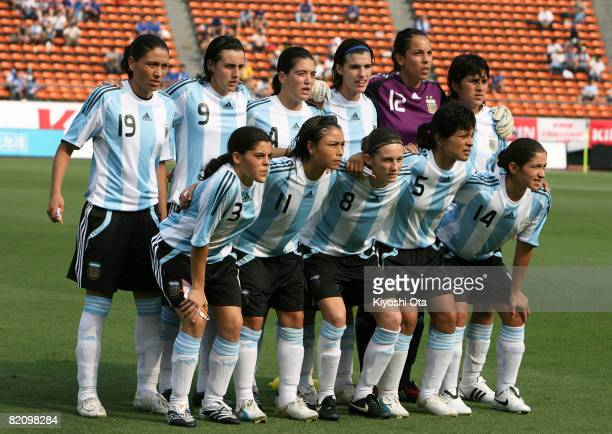 Argentina players pose for a team photo before the kick off of the women's international friendly soccer match between Japan and Argentina at the...