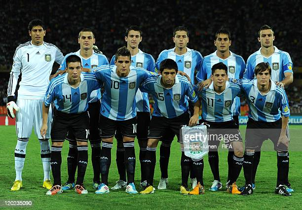 Argentina players pose for a team picture during the FIFA U20 World Cup Colombia 2011 group F match between Argentina and England at the Atanasio...