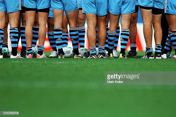 Argentina players share a team talk during the Argentina IRB Rugby World Cup 2011 captain's run at Otago Stadium on September 9 2011 in Dunedin New...