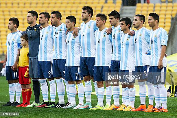 Argentina players sing the national anthem during the FIFA U20 World Cup New Zealand 2015 Group B match between Austria and Argentina at Wellington...