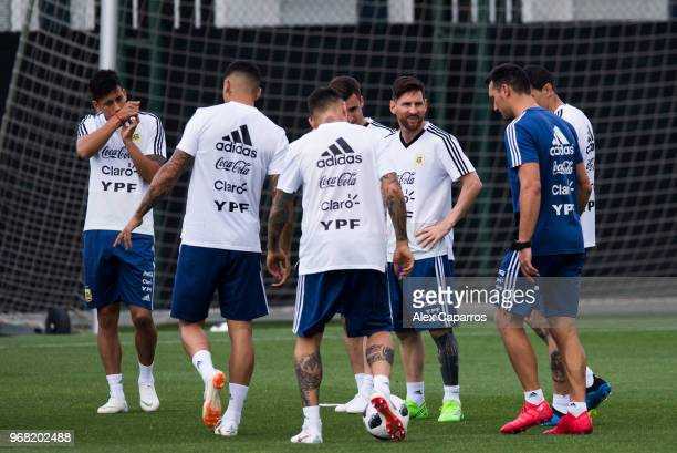 Argentina players take part in a training session as part of the team preparation for FIFA World Cup Russia 2018 at FC Barcelona 'Joan Gamper' sports...