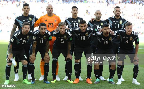 Argentina pose for a team photo during the 2018 FIFA World Cup Russia group D match between Argentina and Iceland at Spartak Stadium on June 16 2018...