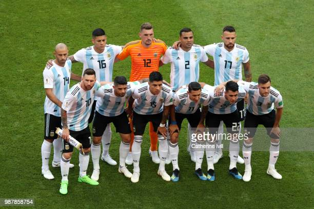 Argentina pose for a team photo during the 2018 FIFA World Cup Russia Round of 16 match between France and Argentina at Kazan Arena on June 30 2018...