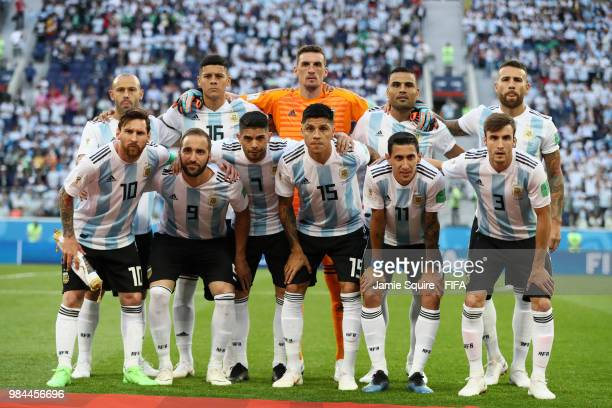 Argentina pose prior to during the 2018 FIFA World Cup Russia group D match between Nigeria and Argentina at Saint Petersburg Stadium on June 26 2018...