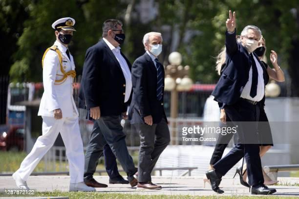 Argentina President Alberto Fernandez arrives at Casa Rosada for the funeral of Diego Maradona on November 26, 2020 in Buenos Aires, Argentina....