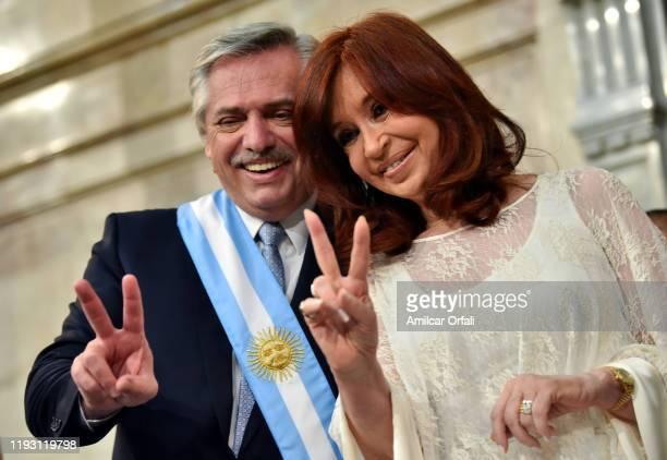 Argentina President-elect Alberto Fernandez and Argentina Vice President-elect Cristina Fernández de Kirchner gesture during the presidential...