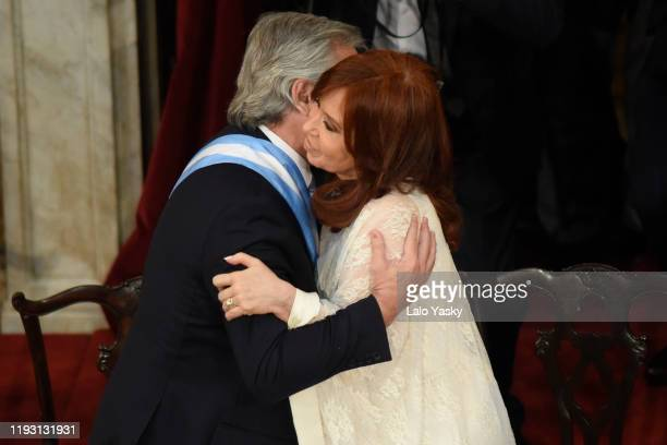 Argentina Presidentelect Alberto Fernandez and Argentina Vice Presidentelect Cristina Fernandez during the Presidential Inauguration Ceremony at...