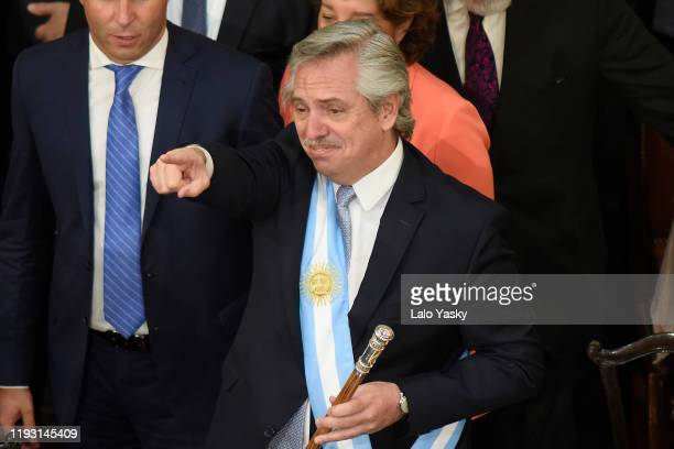 Argentina President-elect Alberto Fernandez gestures during the Presidential Inauguration Ceremony at the National Congress on December 10, 2019 in...