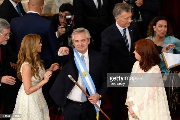 Argentina President-elect Alberto Fernandez greets during the presidential inauguration ceremony at National Congress on December 10, 2019 in Buenos...