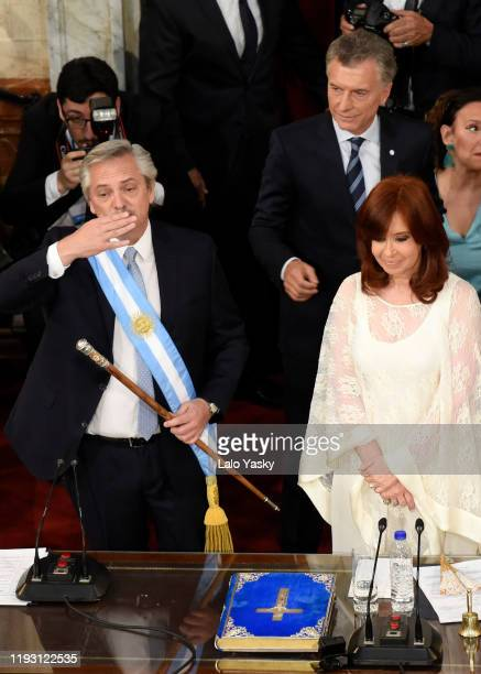 Argentina Presidentelect Alberto Fernandez greets during the presidential inauguration ceremony at National Congress on December 10 2019 in Buenos...