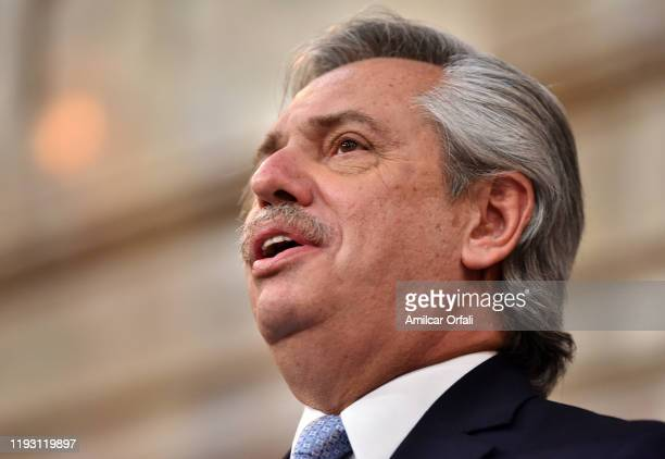 Argentina Presidentelect Alberto Fernandez looks on during his inauguration ceremony at National Congress on December 10 2019 in Buenos Aires...