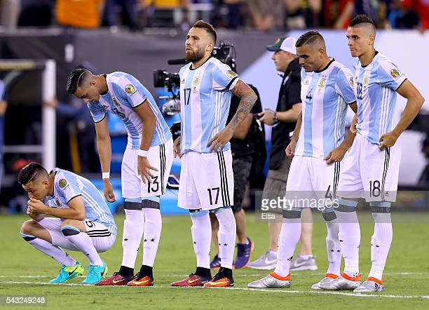 Argentina reacts to the loss to Chile during the Copa America Centenario Championship match at MetLife Stadium on June 26 2016 in East Rutherford New...