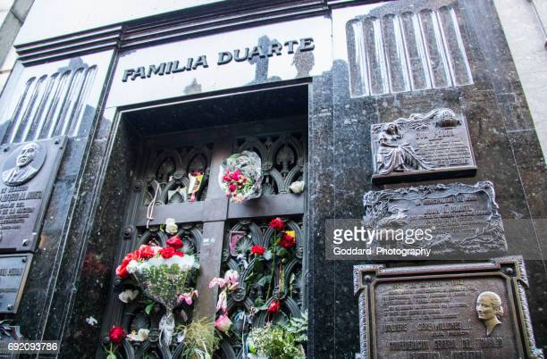 argentina: recoleta cemetery in buenos aires - eva peron stock photos and pictures