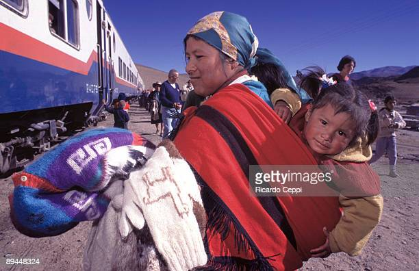 Argentina Salta Colla woman in the Tren a las Nubes is a train service in Salta Province Argentina that connects the Argentine Northwest with the...