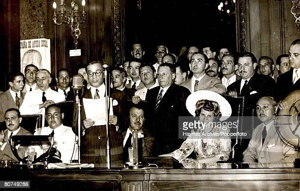 1947 Argentina South America A picture of Eva Peron the wife of the Argentine President smiling at the camera during an official function in Buenos...