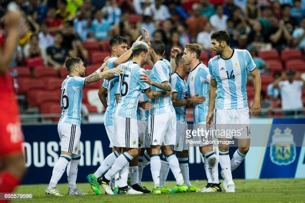 Argentina squad celebrating a goal during the International Test match between Argentina and Singapore at National Stadium on June 13 2017 in...