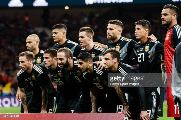 Argentina squad pose for team photo during the International Friendly 2018 match between Spain and Argentina at Wanda Metropolitano Stadium on 27...