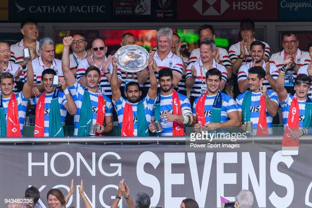 Argentina Squad poses with their Trophy during the HSBC Hong Kong Sevens 2018 match for Plate Final between Argentina and USA on April 8 2018 in Hong...