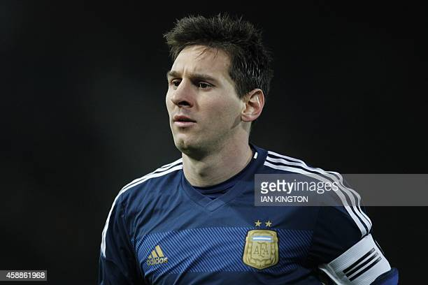 Argentina striker Lionel Messi plays during the international friendly football match between Croatia and Argentina at the Boleyn Ground Upton Park...
