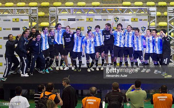 Argentina team celebrate after wining Paraguay during a match Paraguay vs Argentina as part of finals Qualifiers for FIFA Futsal World Cup 2012 at...