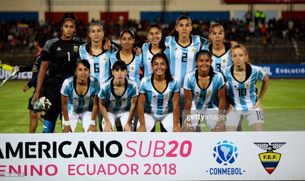 Argentina team during between Ecuador vs Argentina, played at the Fernando Guerrero Stadium by the Sudamericano female U20, in Riobamba, Ecuador, Saturday, January 13, 2018.