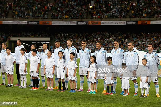 Argentina team during Super Clasico de las Americas between Argentina and Brazil at Beijing National Stadium on October 11 2014 in Beijing China
