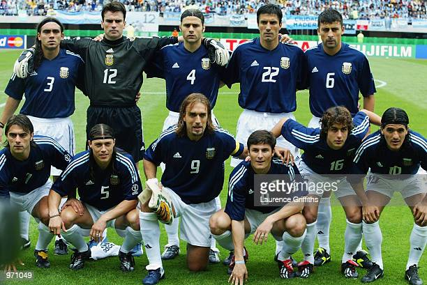 Argentina team group before the Argentina v Sweden Group F World Cup Group Stage match played at the Miyagi Stadium Miyagi Japan on June 12 2002 The...