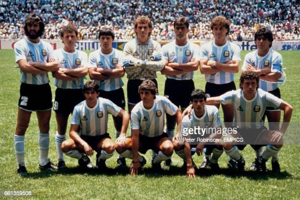 Sergio Batista Jose Luis Cuciuffo Oscar Garre Nery Pumpido Jose Luis Brown Oscar Ruggeri Diego Maradona Jorge Burruchaga Ricardo Giusti Hector...