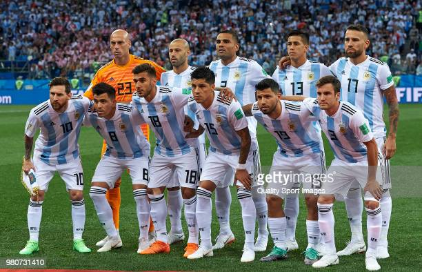 Argentina team line up prior the 2018 FIFA World Cup Russia group D match between Argentina and Croatia at Nizhniy Novgorod Stadium on June 21 2018...