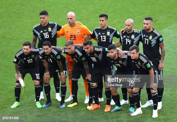 Argentina team lines up during the 2018 FIFA World Cup Russia group D match between Argentina and Iceland at Spartak Stadium on June 16 2018 in...