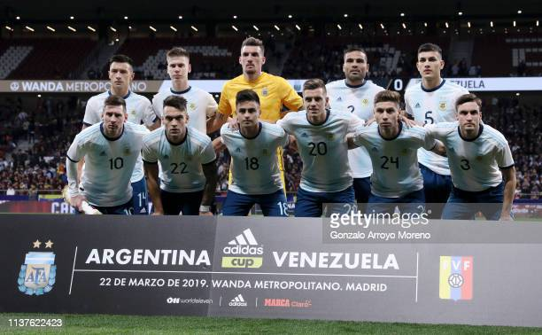Argentina team pose for a photograph ahead of the International Friendly match between Argentina and Venezuela at Estadio Wanda Metropolitano on...
