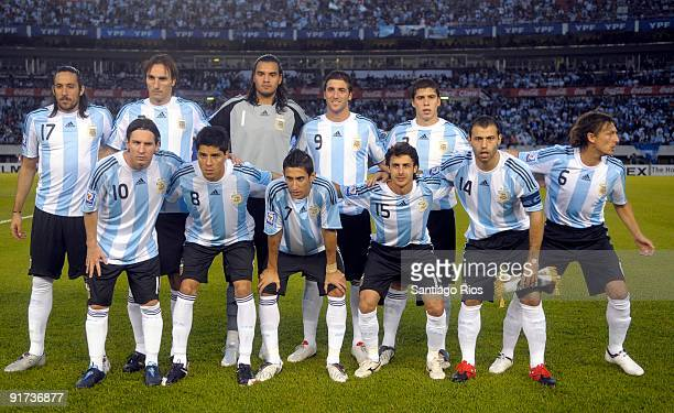 Argentina team pose for a photograph before their match against Peru as part of the FIFA 2010 World Cup Qualifier at Monumental Stadium on October 10...