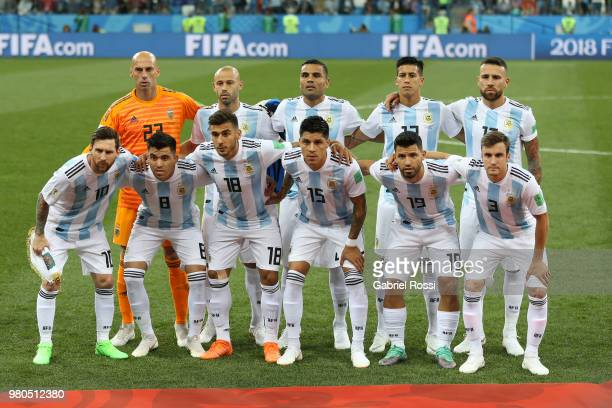 Argentina team pose prior to the 2018 FIFA World Cup Russia group D match between Argentina and Croatia at Nizhny NovgorodStadium on June 21 2018 in...