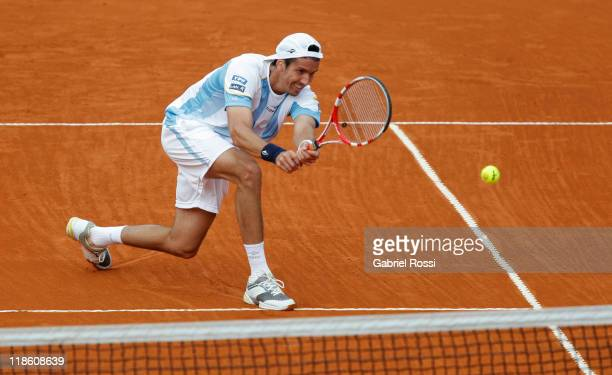 Argentina tennis player Juan Ignacio Chela in action during the match against Korolev from Kazakhstan on third day of the series between Argentina...