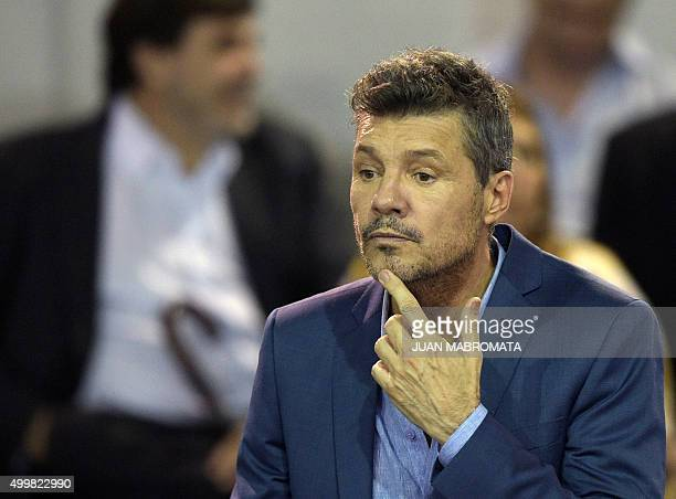 Argentina TV host San Lorenzo vicepresident and presidential candidate for the AFA Marcelo Tinelli gestures before the start of the election for the...