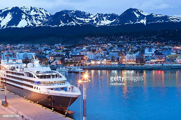 argentina ushuaia bay at beagle channel by night - santa cruz province argentina stock pictures, royalty-free photos & images
