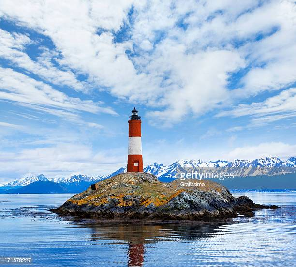 argentina ushuaia bay at beagle channel with les eclaireurs lighthouse - chile stock photos and pictures